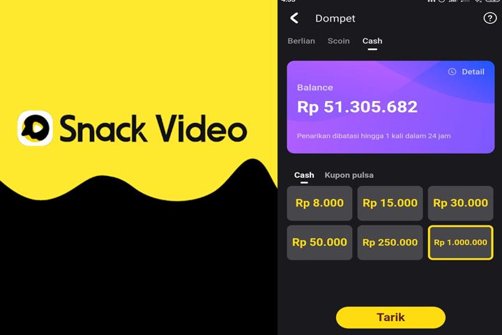 Cara Mendapatkan Uang dari Snack Video Secara Cepat dan cara menggunakan snack video jadi saldo dana