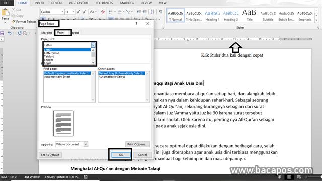 Pengaturan Paper Size cara penggunaan microsoft word