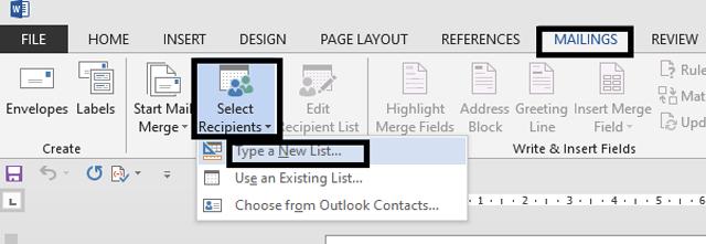 pilih Mailings cara membuat form menggunakan mail merge